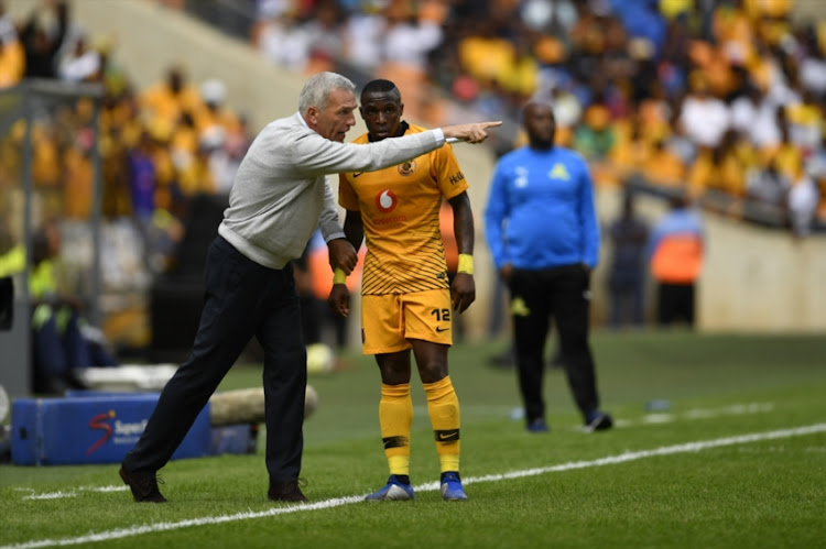 Kaizer Chiefs coach Ernst Middendorp speaks to George Maluleka during the Absa Premiership match between Kaizer Chiefs and Mamelodi Sundowns at FNB Stadium on January 05, 2019 in Johannesburg, South Africa.