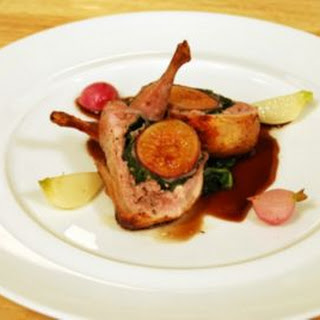 Roasted Quail Stuffed with Fig & Prosciutto.