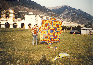 Photo: Moustache and his beautiful patchwork kite.