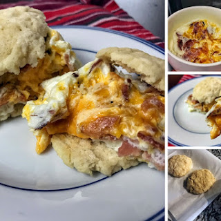 Microwavable Low Carb Bacon, Egg, and Cheese Biscuit.