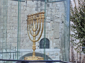 Photo: From the museum, we headed towards the Western Wall where near the entrance stood this  solid gold menorah, a replica of one from the ancient Temple.