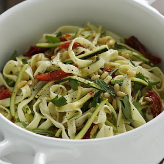 Herby Vegetable Pasta with Pine Nuts.