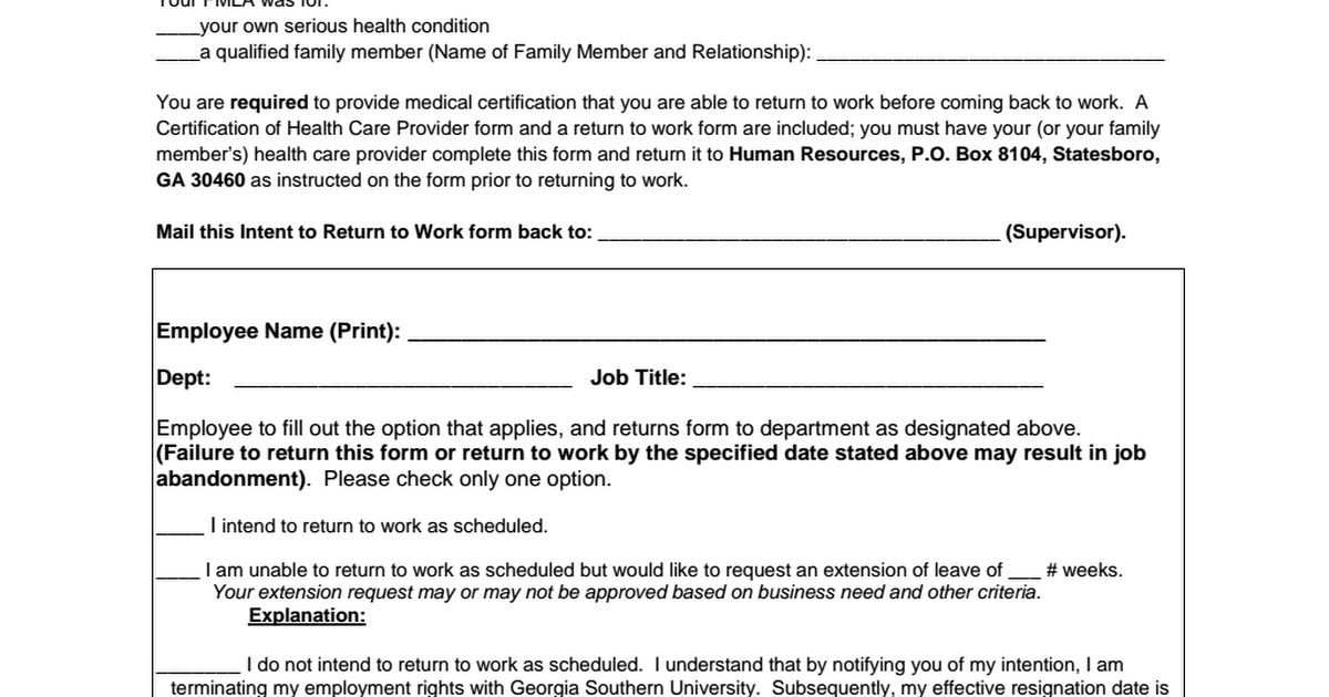 Form d intent to return to work fmlpdf google drive expocarfo