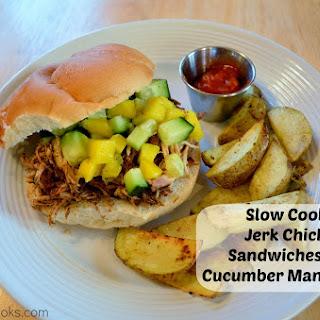 Slow Cooker Jerk Chicken Sandwiches with Cucumber Mango Salsa