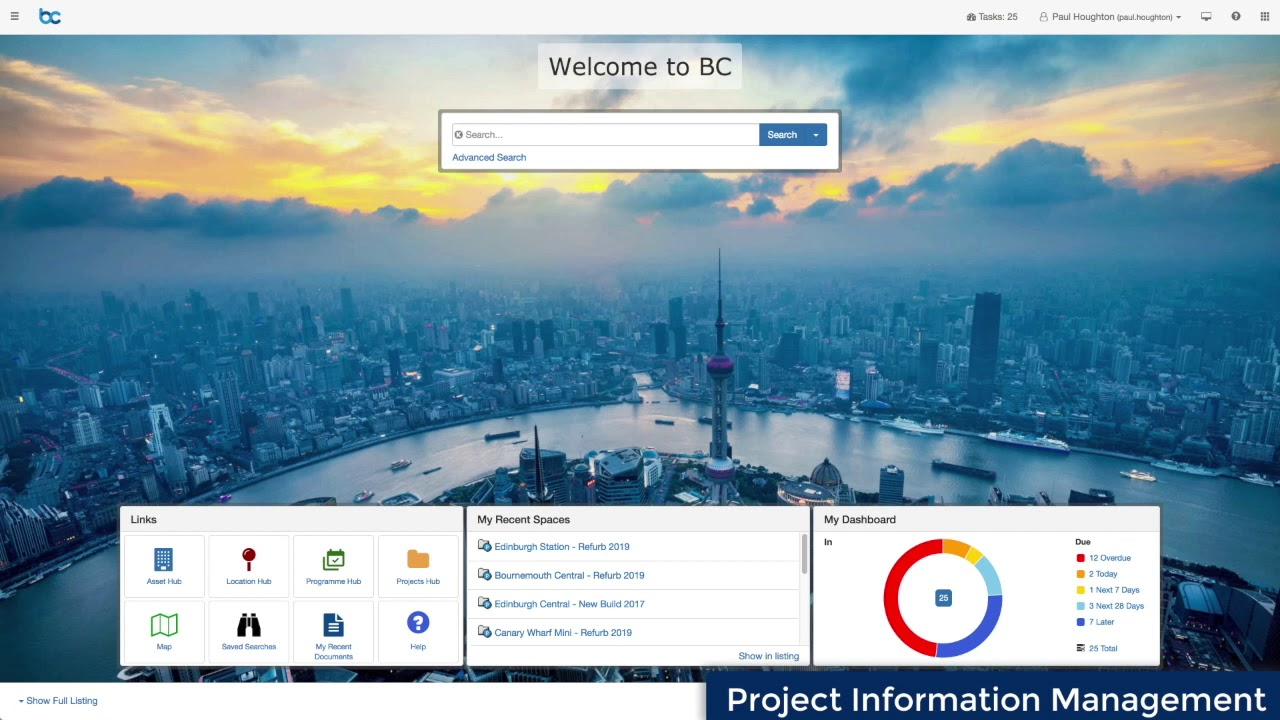 The Project BC common data environment software, made by GroupBC, in action.