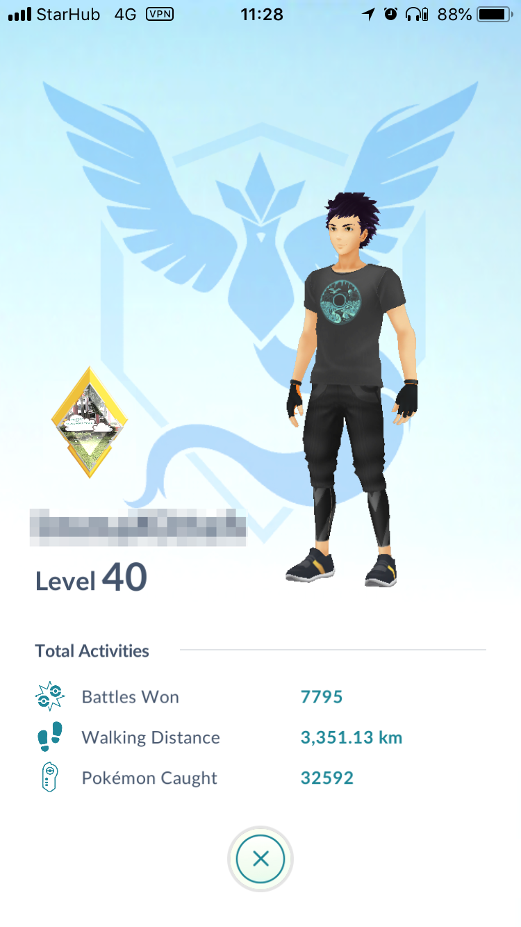My Level 40 profile as viewed in a raid gym.