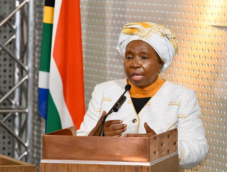 Cogta minister Nkosazana Dlamini-Zuma addresses a briefing on the level 4 restrictions on Wednesday night.