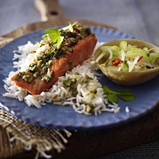 Chili Ginger Salmon Fillet with Cucumber Salad.