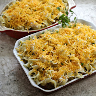 Gourmet Beef Noodle Casserole with Cream Cheese.