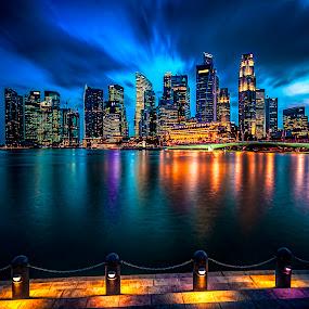 Viva Shenton! by Gordon Koh - City,  Street & Park  Skylines ( clouds, shenton way, skyline, reflection, blue hour, cityscape, dusk, singapore, city, nightscape, cbd, skyscraper, movement, asia, long exposure, waterfront, jubilee bridge,  )