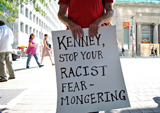 Photo: A sing addressed to Jason Kenney, Canada's current Minister of Citizenship, Immigration and Multiculturalism.