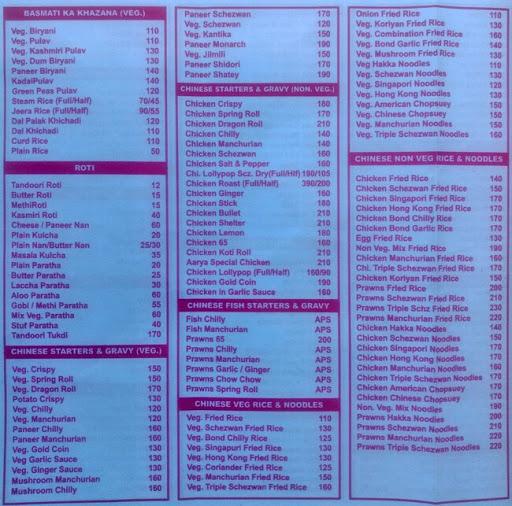 Hotel Aarya menu 3
