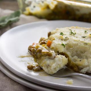 Vegan Shepherd's Pie with Mashed Cauliflower.