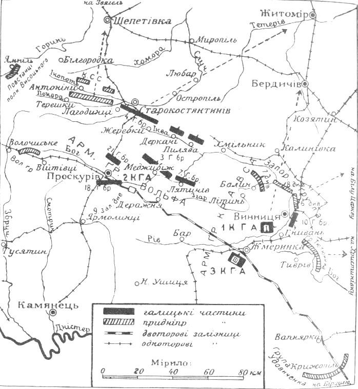 Розташування українських військ станом на 11 серпня 1919-го