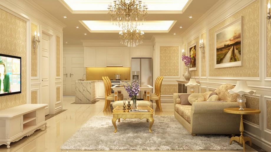Lựa chọn tone màu sáng cho phòng khách tân cổ điển