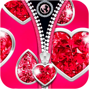 Zipper Love Hearts Romantic Theme