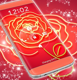 Rose Neon Lockscreen - náhled