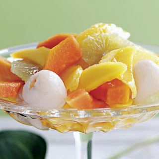 Tropical Fruit Salad with Lime Syrup.