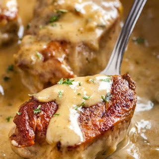 Pork Medallions with Blue Cheese Sauce.
