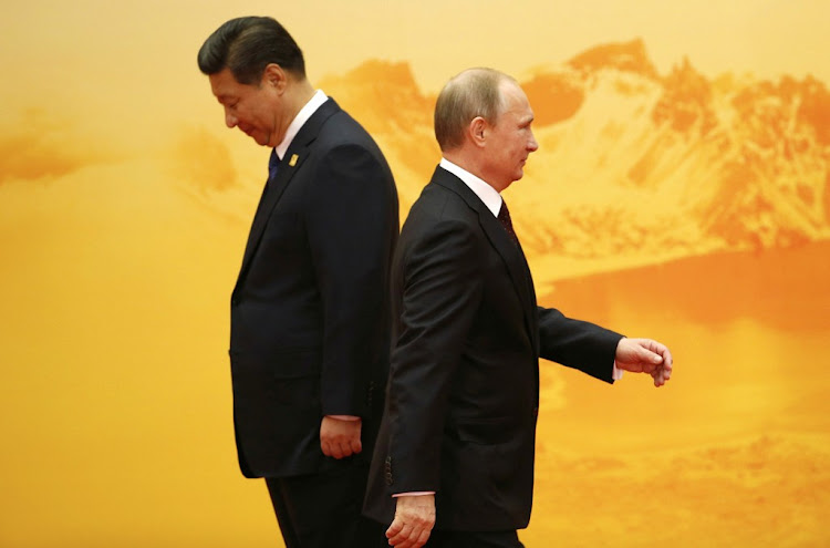 China's President Xi Jinping and Russia's President Vladimir Putin. Picture: REUTERS