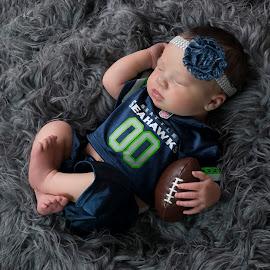 Mini Seahawks Fan by Nicole Ferris - Babies & Children Babies ( babygirl, girl, football, jersey, sports, baby, navy, newborn,  )
