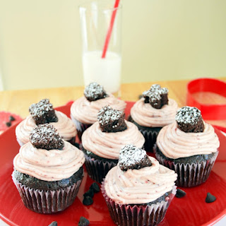 Double Chocolate Cupcakes with Real Cherry Frosting