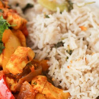 Paneer Jalfrezi (Indian Cottage Cheese with Mixed Vegetables) with Fried Rice.