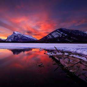 Dawn Fire by Robert Gallucci - Landscapes Sunsets & Sunrises ( reflection, mountains, sunrise, landscapes, banff )