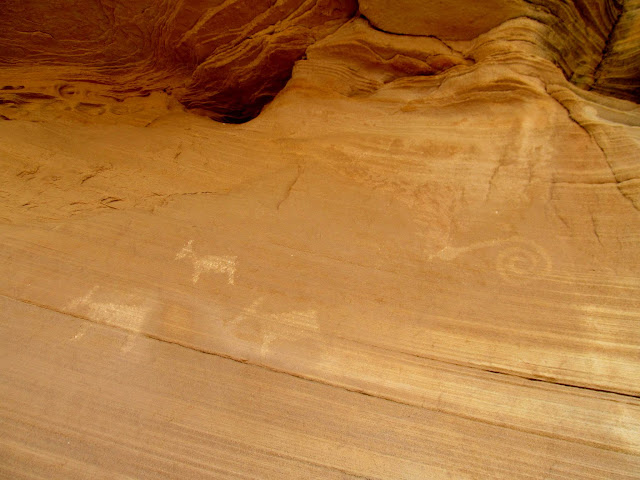 Some fake petroglyphs near the mouth of Furniture Draw