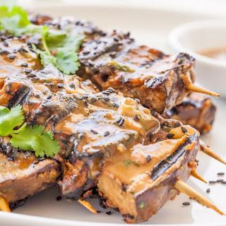Vegan Grilled Eggplant Tahini Satay Kebabs