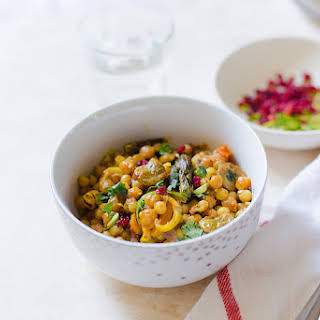 Pearl Couscous and Chickpeas with Vegetables.