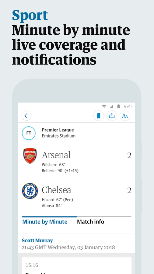 Screenshots of The Guardian for iPhone