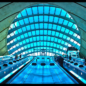 welcome to canary wharf by Jinesh Solanki - Buildings & Architecture Other Interior ( cool, sky, hdr, london, tube, blue, green, canary wharf, peace, high dynamic range, underground )