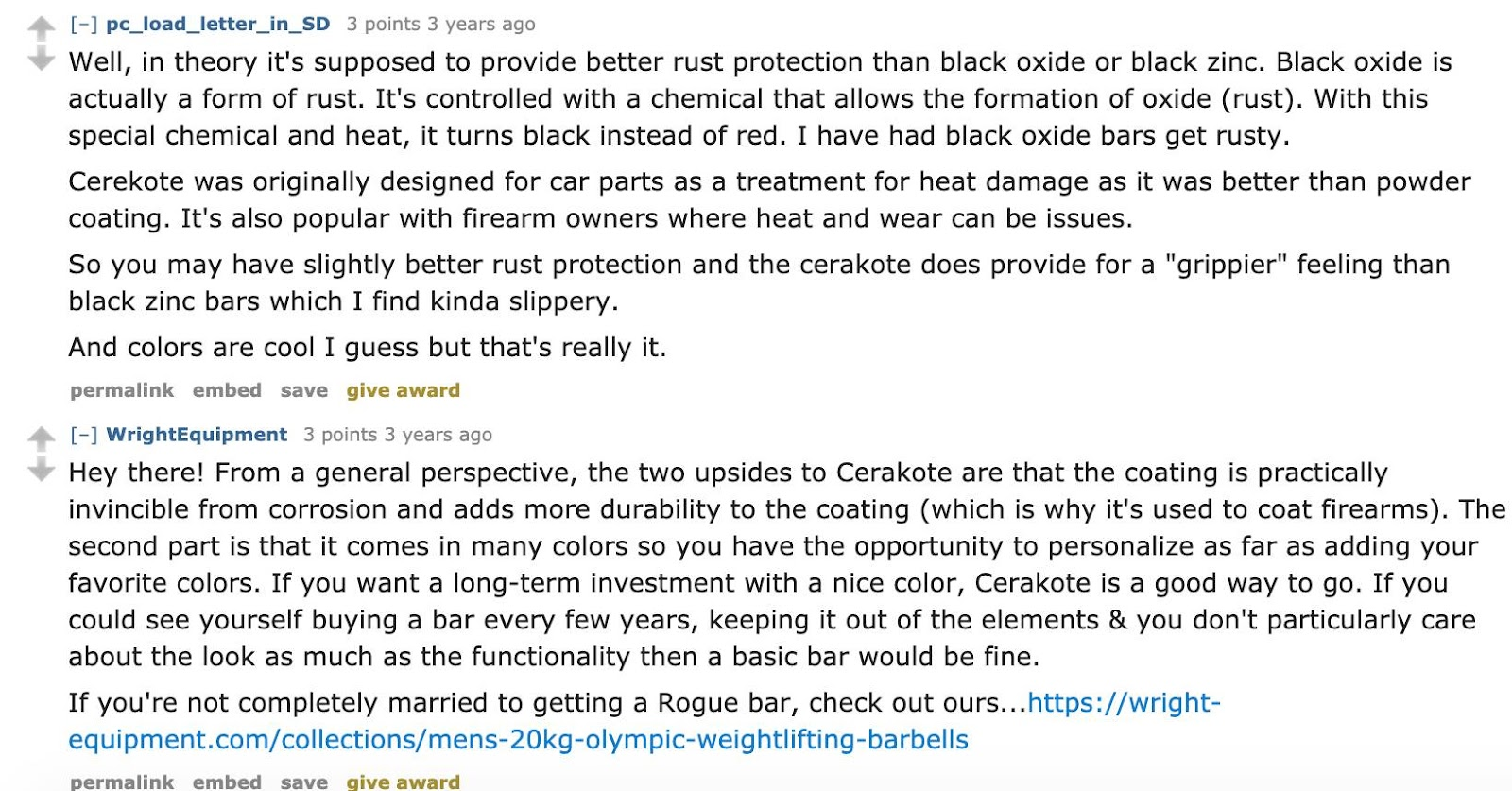 Reddit user pc_load_letter_in_SD talks about Cerakote being used for rust protection and Reddit user WriteEquipment claims that Cerakote is 'practically invincible.'