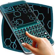 Neon Blue Tech Keyboard