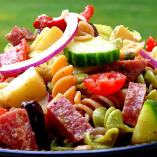 Antipasto Pasta Salad with Tangy Red Wine Vinaigrette.