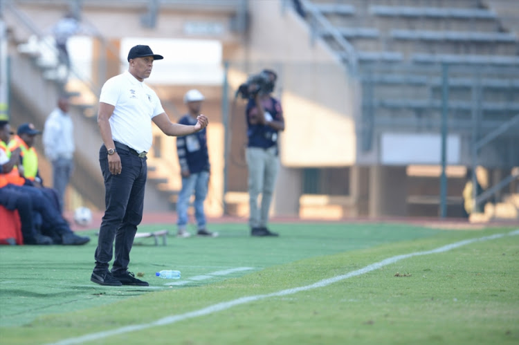 Baroka caretaker coach Doctor Khumalo during the Absa Premiership match between SuperSport United and Baroka FC at Lucas Moripe Stadium on May 12, 2018 in Pretoria, South Africa.