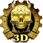 Wooden Golden 3D Skull Theme Icon