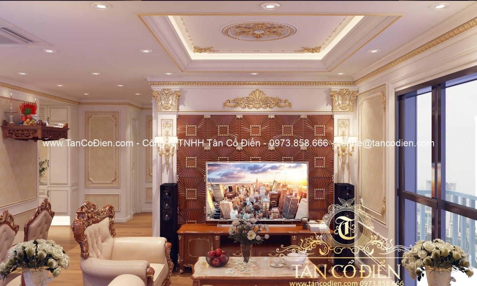 Thiết kế nội thất phòng khách biệt thự cổ điển
