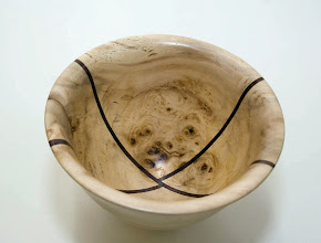 "Photo: Richard Webster, 7-1/2"" x 6"" maple/walnut segmented bowl"