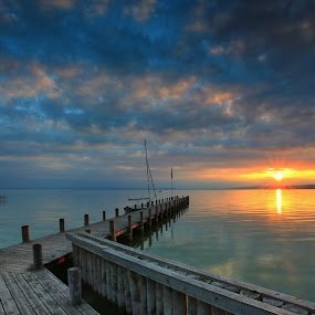 sunset in Neusiedler See by Matej Kováč - Landscapes Weather ( garyfonglandscapes, holiday photo contest, photocontest,  )