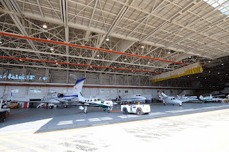 Photo: Willow Run Airport's expansive Hangar One once served as the airport's passenger terminal (before all commercial passenger service transferred to Detroit Metro Airport by the early 1960s).  Today, it's busy with cargo, business and general aviation aircraft.  CREDIT: Jeff Ellis/Wayne County Airport Authority.
