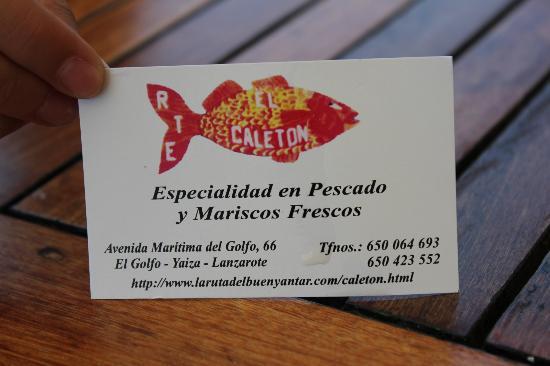 Tarjeta de visita Restaurante El Caletón