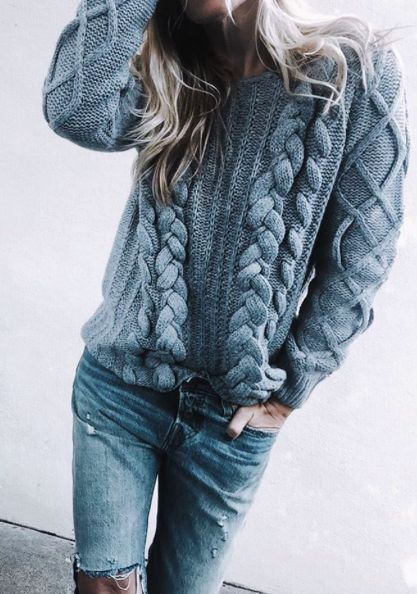 Muted and cozy outfit with knitted sweater and jeans for Soft Summer women