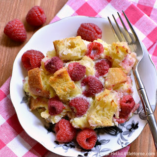 Raspberry White Chocolate Bread Pudding.