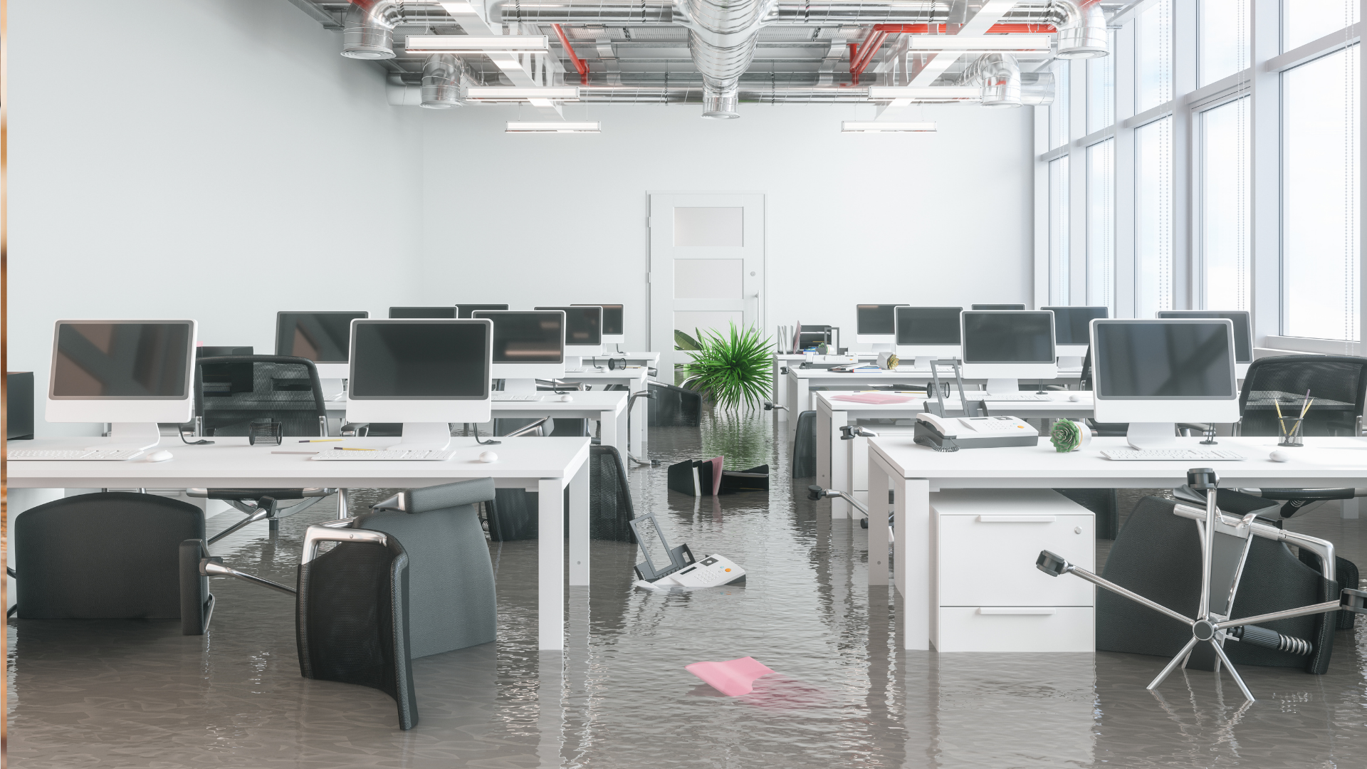 Water damage in offices