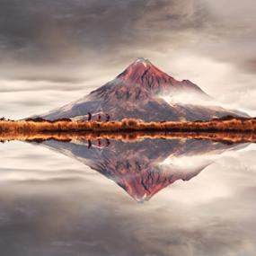 Mount Taranaki New Zealand by Anupam Hatui - Landscapes Mountains & Hills ( mirror, reflection, mountain, nature, waterscape, landscape )