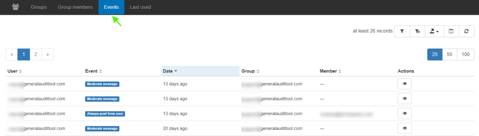 Events tab will display actions occurred to a group like by which user to what group and the event happened.