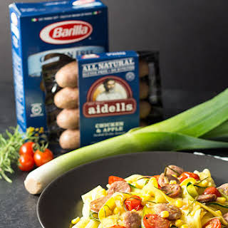 Sausage and Pasta with Summer Vegetables.