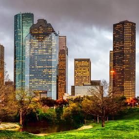 Houston Skyline after a storm by Dee Zunker - City,  Street & Park  Skylines ( buffalo bayou, allen parkway, skyline, houston, texas, usa, panorama, downtown )